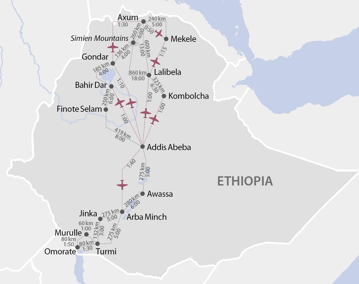 Karte Äthiopiens Distanzen