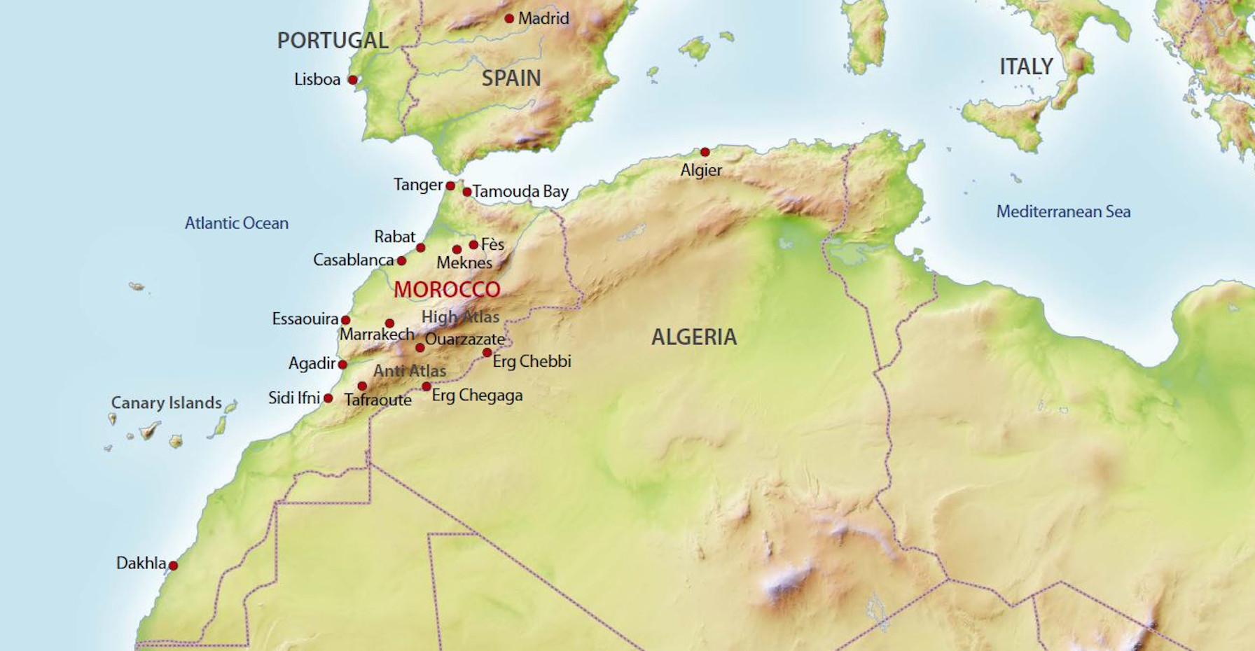 Landkarte von Marokko