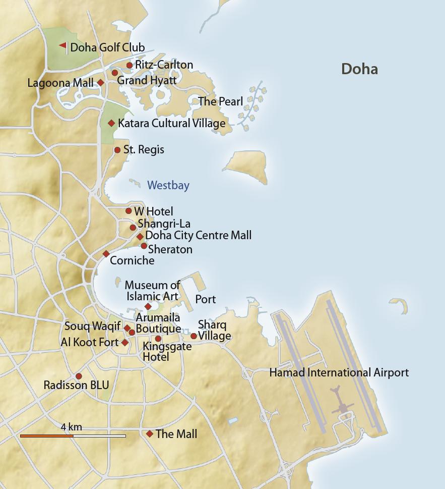 Karte Doha - Qatar