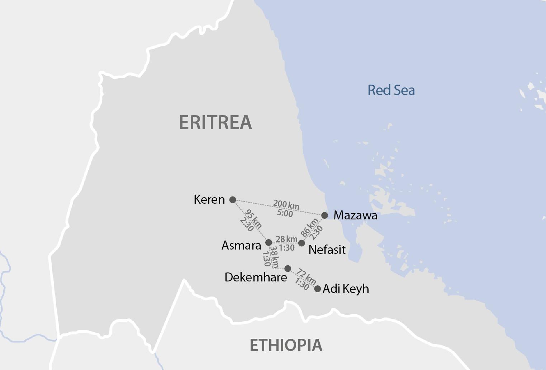 Karte Eritreas Distanzen