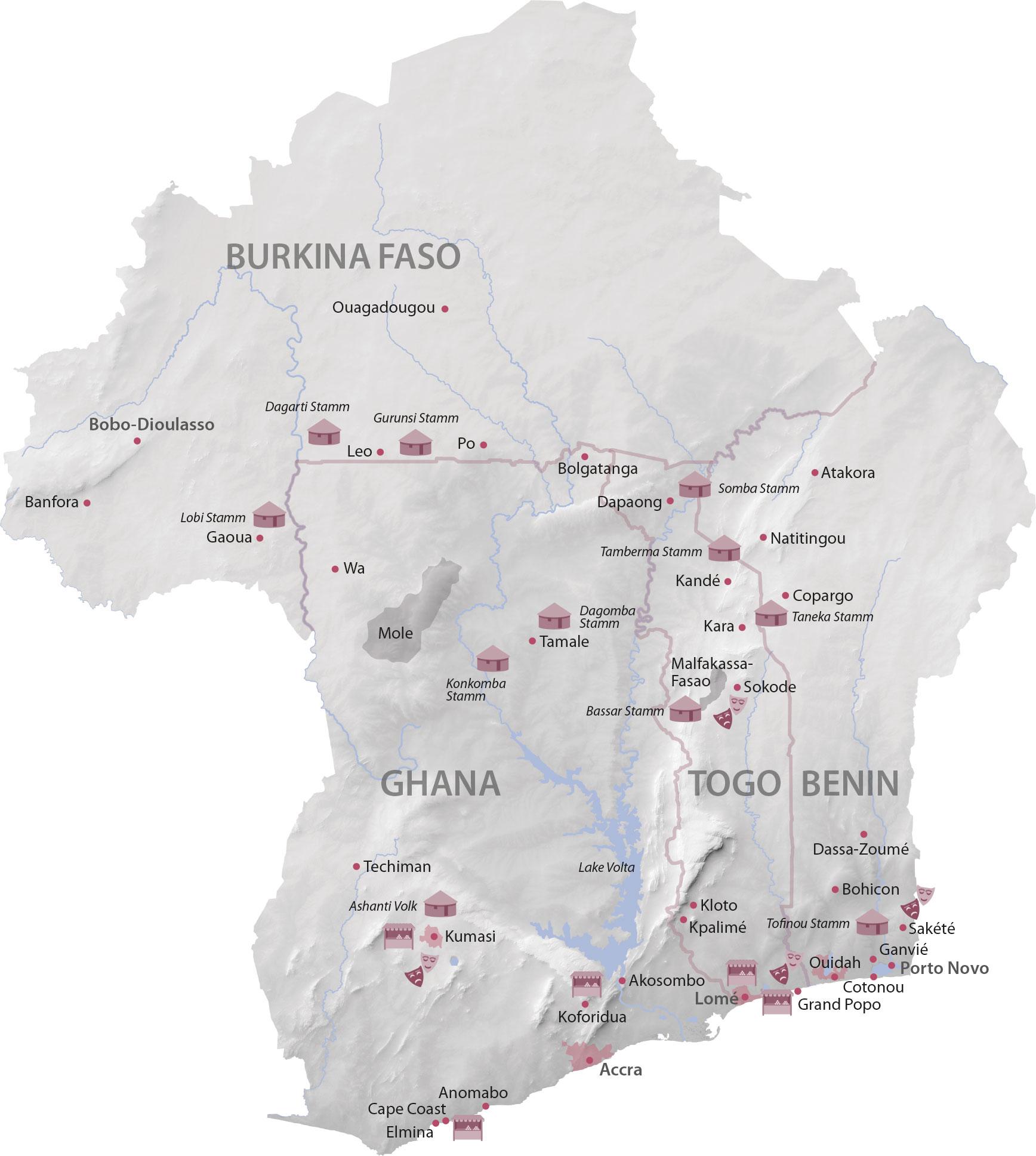 Karte Ghana Togo Benin Burkina Faso