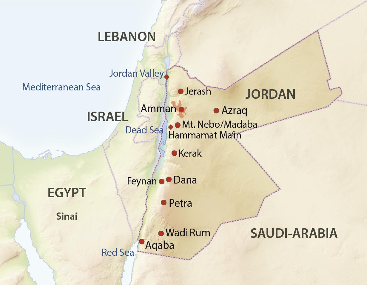 Karte Jordanien