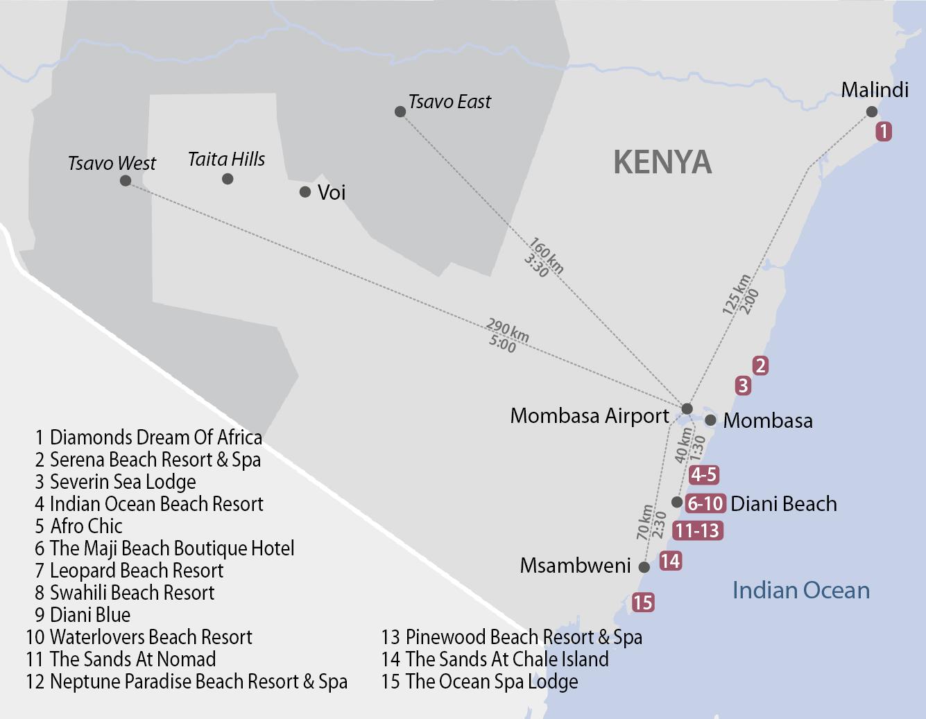 Karte Kenyas Küste - Distanzen