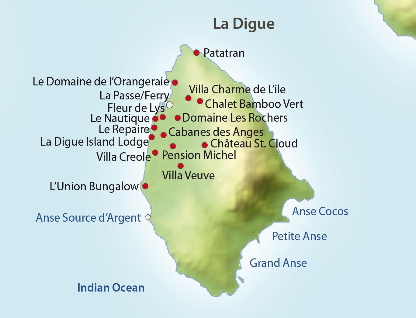 La Digue Seychellen Karte