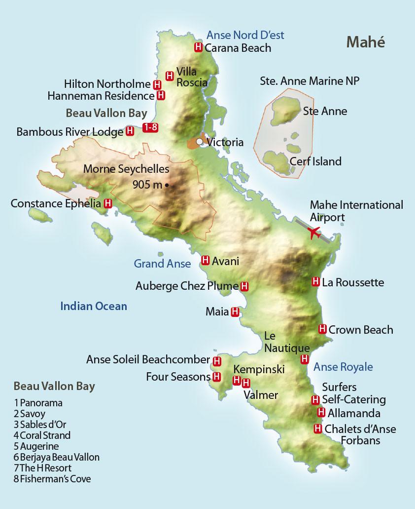 Mahe Seychellen Karte