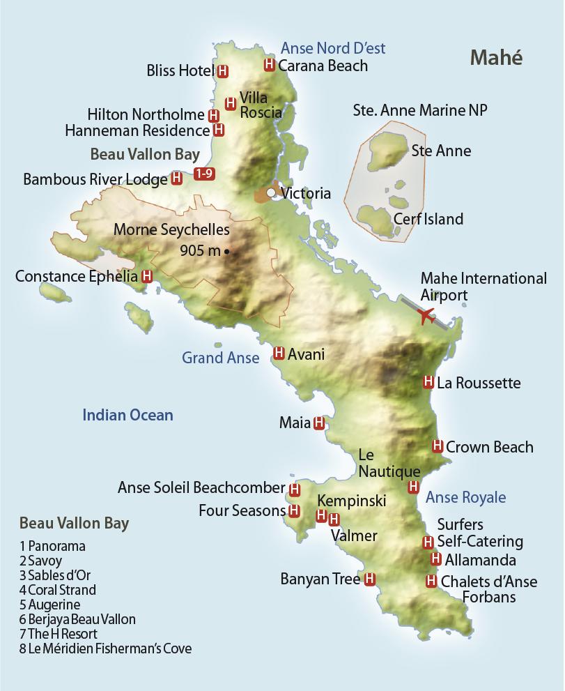 Karte Mahé