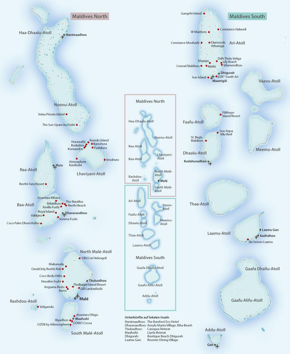 Karte Malediven