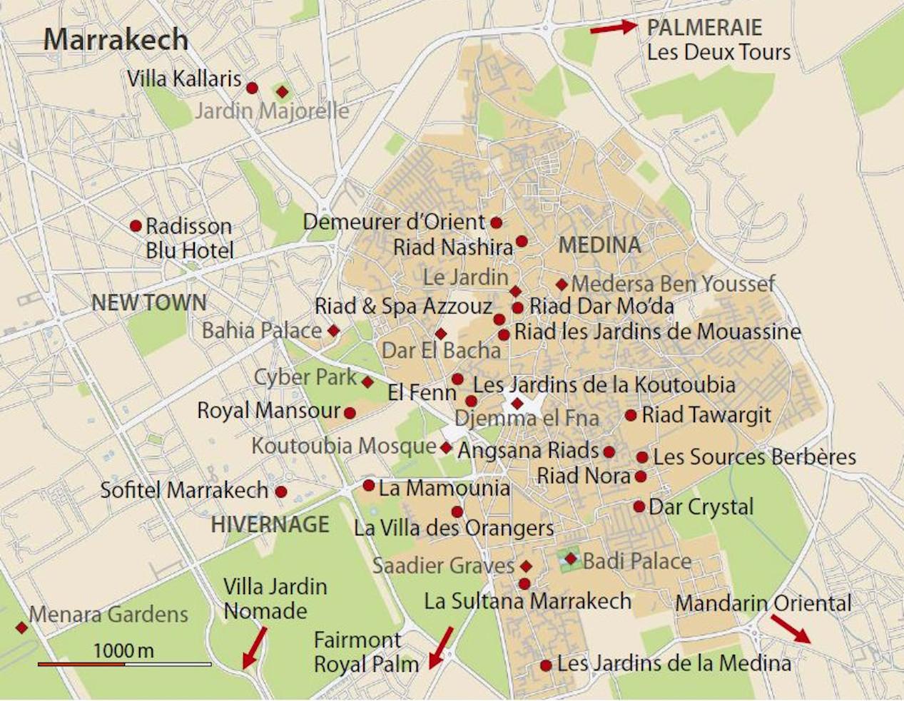 Hotelkarte Marrakesch