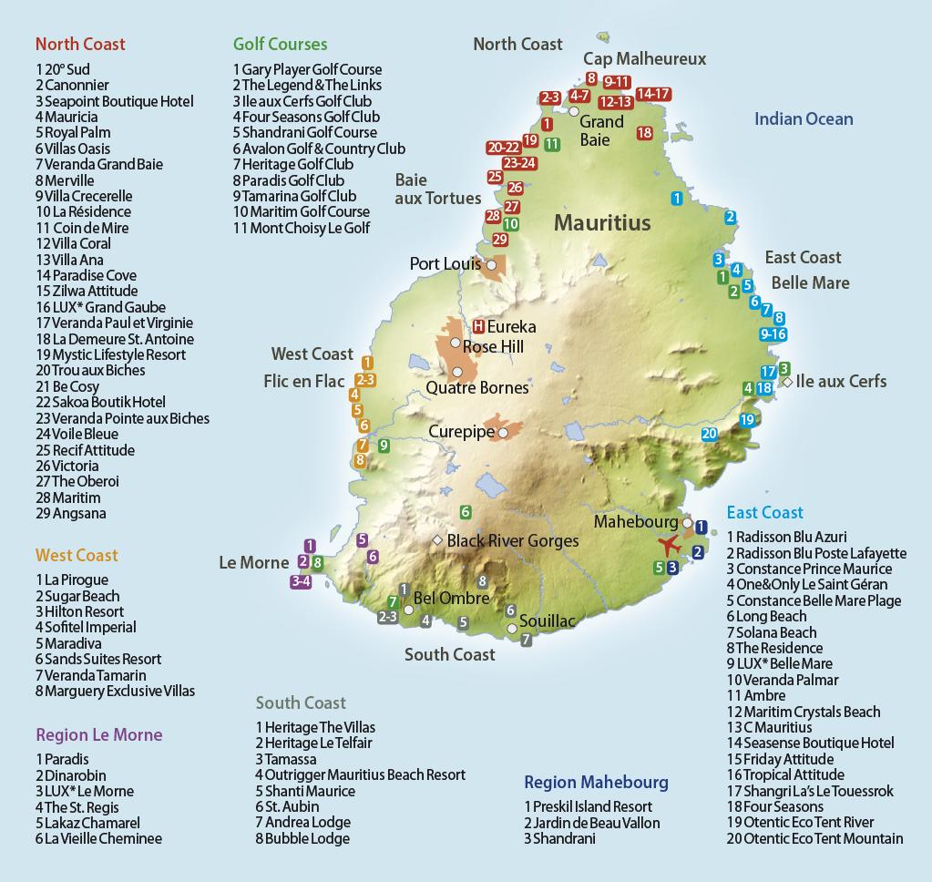 Karte Mauritius