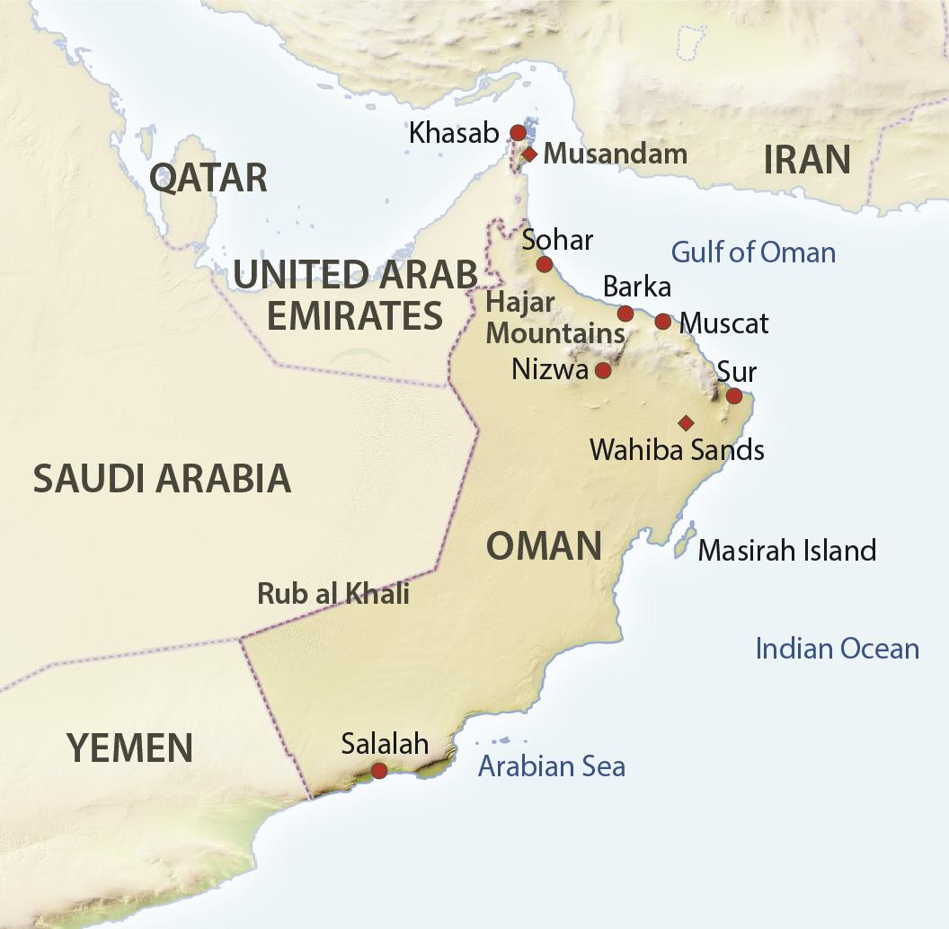 Karte Restlicher Oman