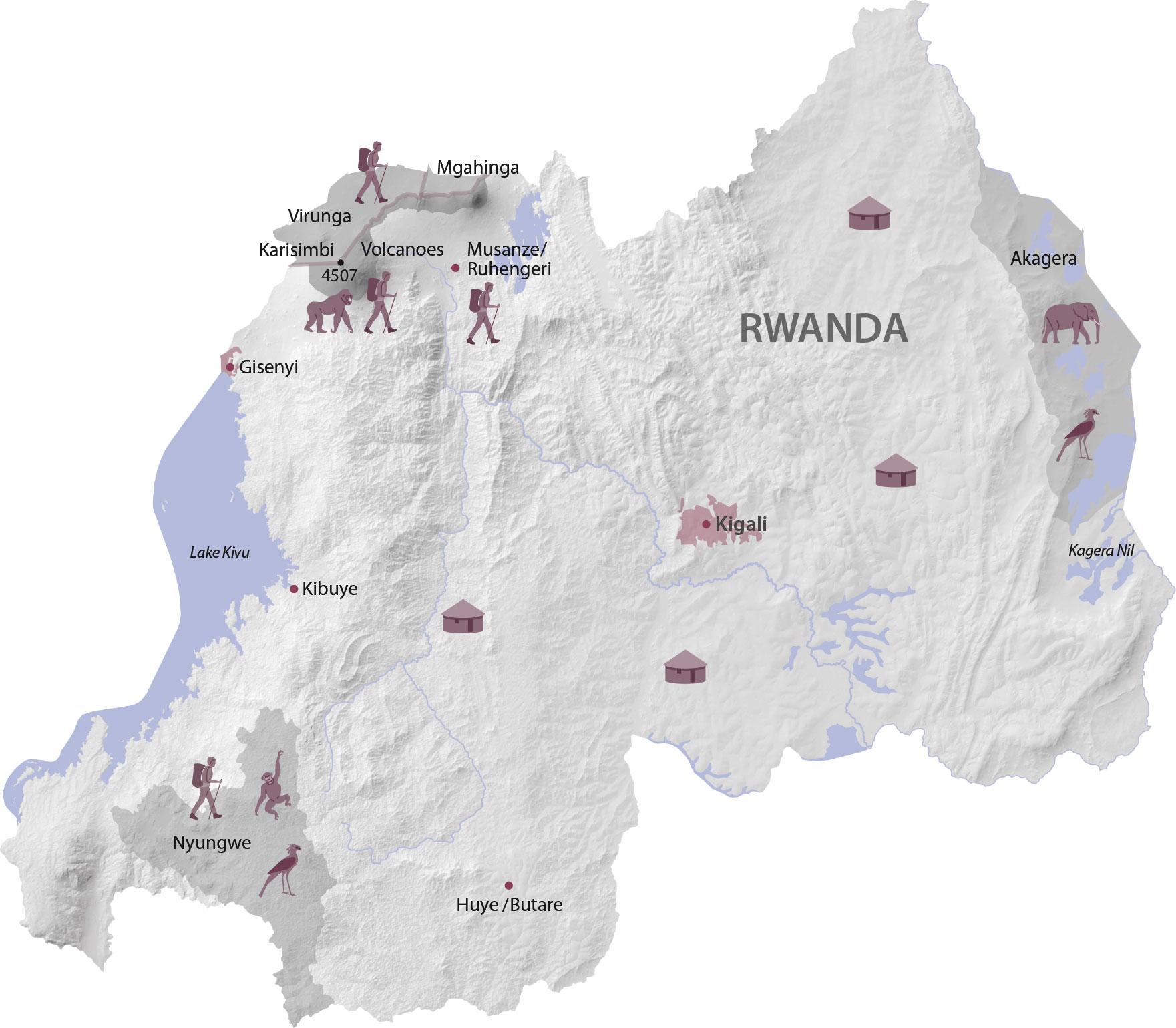 Karte Regionen in Ruanda