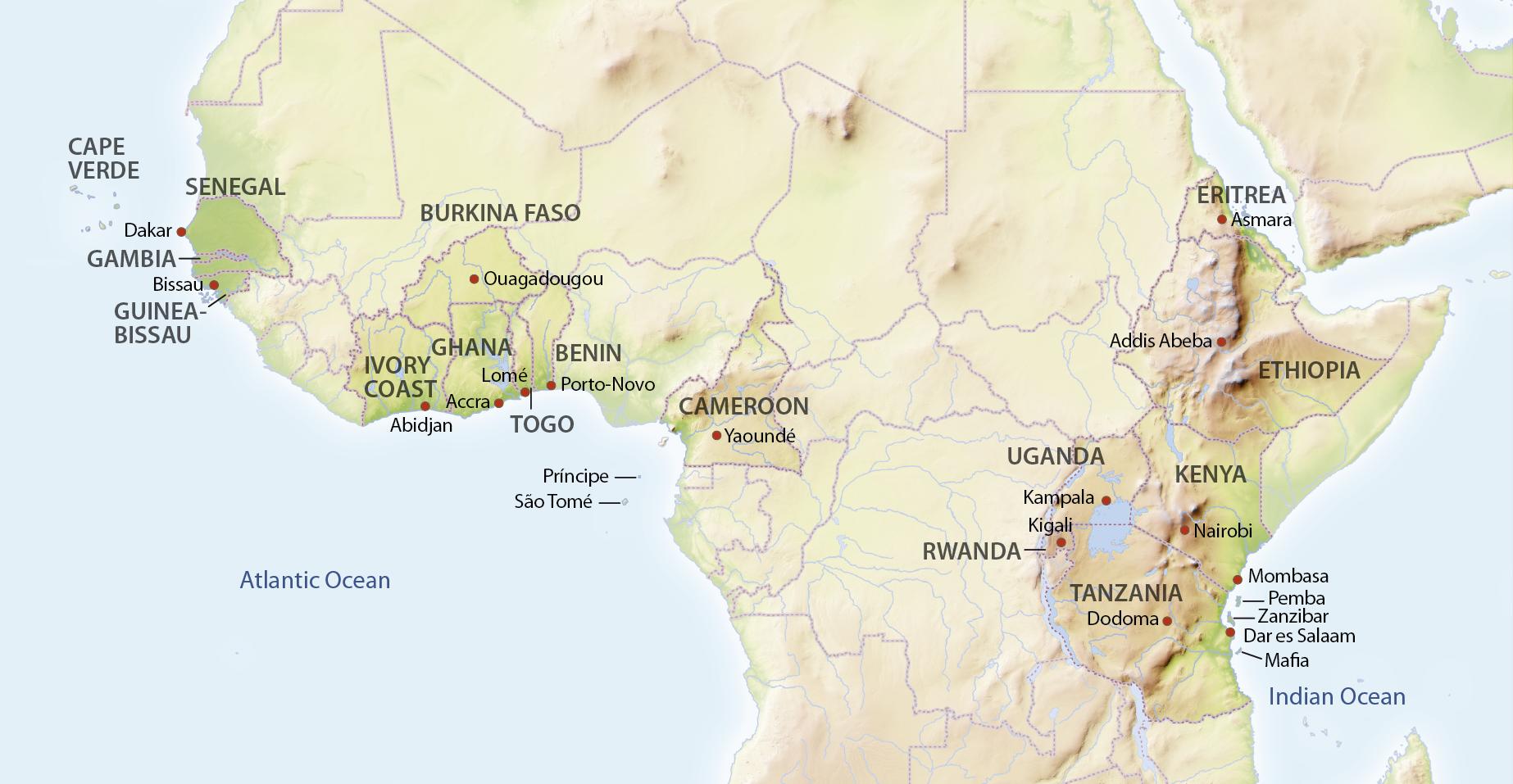 Karte Safari Afrika