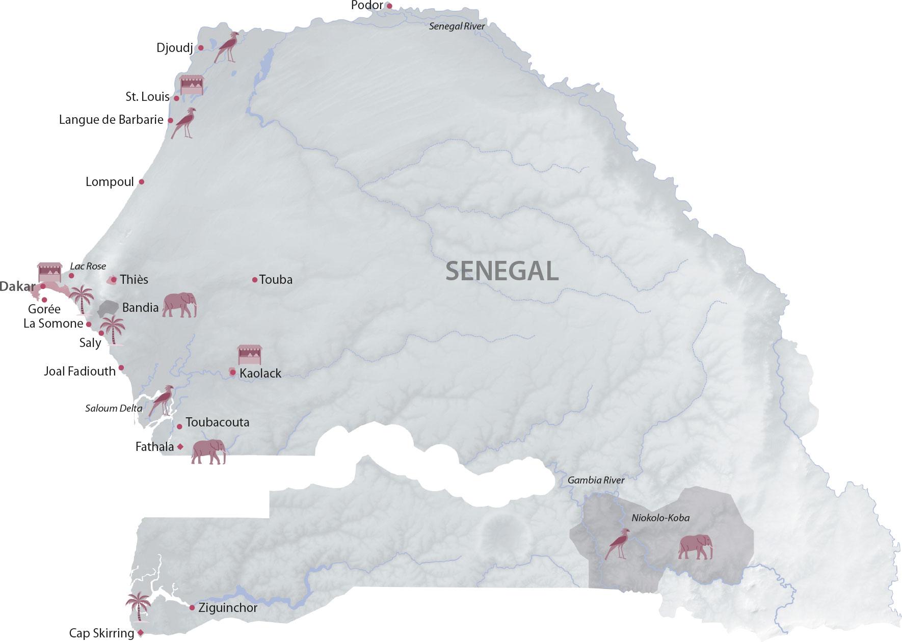 Karte Senegal Regionen