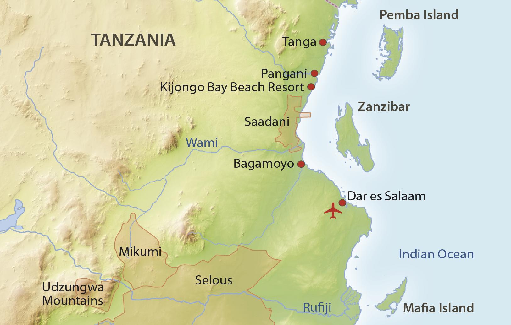 Karte Tanzania Küste