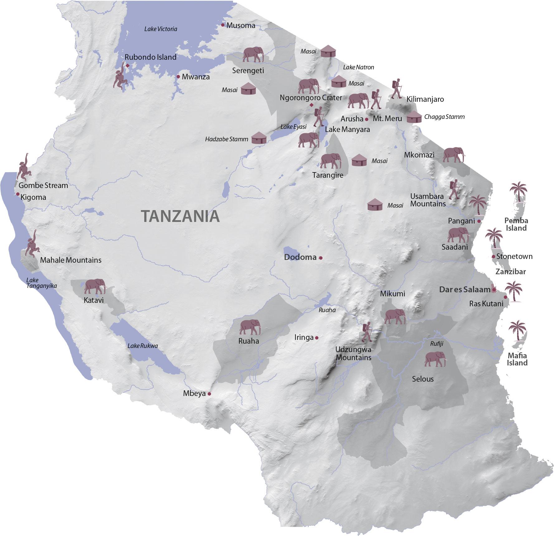 Karte Tanzania Regionen