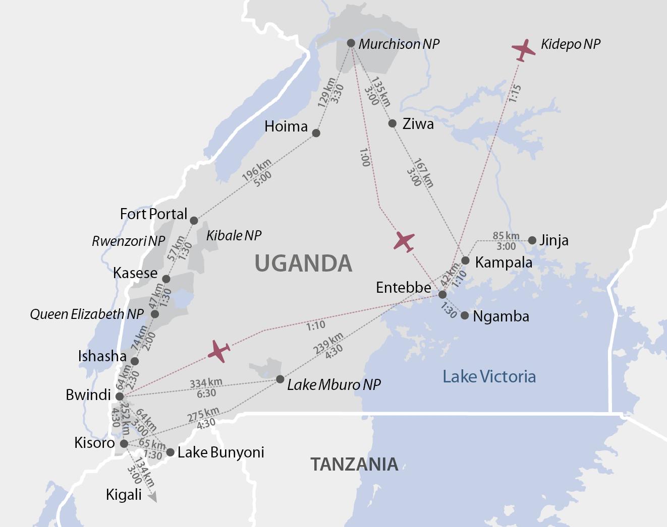 Karte Uganda Distanzen