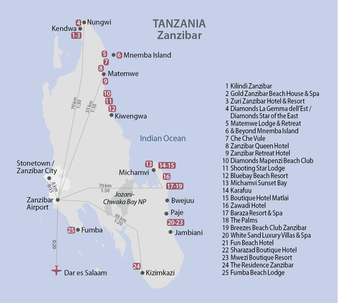 Karte Zanzibar